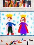 画:微笑的国王和女王/王后有他们的冠的 免版税库存图片