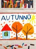 画:意大利词秋天、家和树与橙色叶子 免版税库存照片