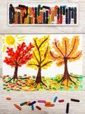 画:秋天风景,与黄色,橙色和红色叶子的树 库存照片