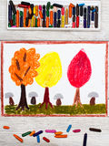 画:秋天风景,与黄色,橙色和红色叶子的树 免版税库存图片
