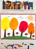 画:秋天风景,与黄色,橙色和红色叶子的树 免版税库存照片