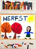画:荷兰词秋天,微笑的小女孩,与橙色和红色叶子的树, 免版税库存图片