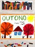 画:葡萄牙词秋天,与橙色和红色叶子和小屋的树 库存照片