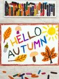 画:词你好秋天蘑菇,橡子,黄色和桔子叶子 库存照片