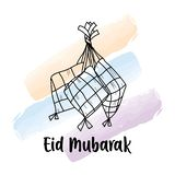 画Eid穆巴拉克问候的手KetupatIndonesian食物 库存图片