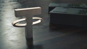 界限cryptocurrency金属标志特写镜头 3d?? 库存图片