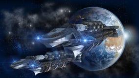 留下地球的太空飞船舰队 免版税库存照片