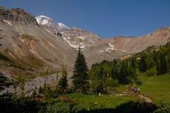 留下山的阵营登山人 免版税图库摄影