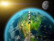 留下火箭的地球 图库摄影