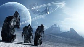 留下遥远的行星的外籍人船 库存例证