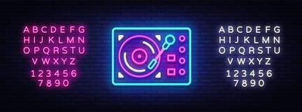 留声机霓虹牌传染媒介 减速火箭的音乐霓虹发光的标志,减速火箭的样式70-80-90s光横幅,霓虹象,设计 库存例证