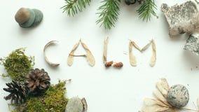 留心平静拔去概念,从森林自然材料的词安静 免版税库存图片