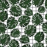 留给热带 向量 在样片的无缝的样式 密林留下墙纸 与几何栅格的夏威夷背景 免版税库存图片