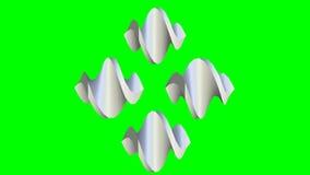 略写法元素,生气蓬勃的金属银色hexagone卷动到形状里喜欢螺丝或成纺锤形,动画  皇族释放例证