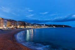 略雷特德马尔镇在黄昏的西班牙 免版税库存图片