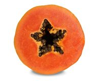 番木瓜有美丽的深橙红色骨肉 免版税图库摄影