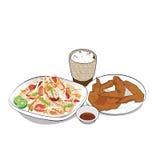 番木瓜沙拉集合菜单 免版税库存图片