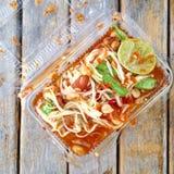 番木瓜沙拉, somtum泰国食物 免版税库存图片