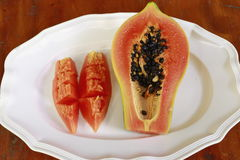 番木瓜煮熟的立即可食 免版税库存图片