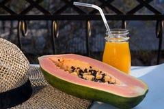 番木瓜番瓜树是异乎寻常,鲜美,甜果子 瓜面包树果子  番木瓜种子是可食的,并且可以是治疗 库存图片