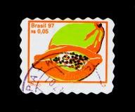 番木瓜,果子serie,大约1997年 免版税库存图片