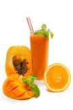 番木瓜,芒果汁用桔子 免版税图库摄影