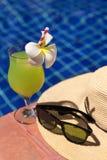 番石榴绿色新鲜的汁圆滑的人饮料鸡尾酒,太阳镜和 免版税库存照片