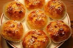 番红花小圆面包 库存图片