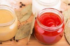番茄酱和其他调味汁 库存照片