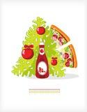 番茄酱薄饼结构树 免版税图库摄影