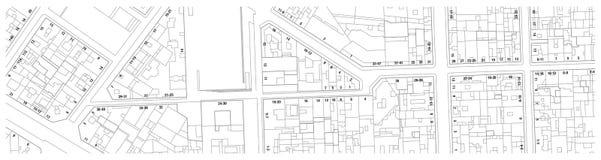 疆土虚构的地籍图地图有大厦街道和房子号码的 向量例证