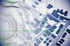 疆土虚构的地籍图有大厦和路的画与被援助的CAD计算机-设计在dwg的计算机软件 库存照片