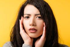 疑义犹豫缺乏信心的妇女怀疑情感 免版税图库摄影