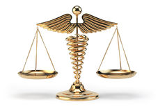 医疗众神使者的手杖标志作为标度 医学和justi的概念 库存照片