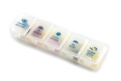 医疗保健、各种各样的颜色药房药片和胶囊与pil 免版税库存图片