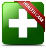 医疗保健加号绿色正方形按钮 免版税库存图片