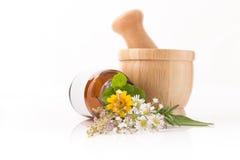 医疗保健新鲜的草本和Fower,瓶芳香疗法  库存图片