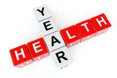 医疗保健概念。与健康年标志的立方体 免版税图库摄影