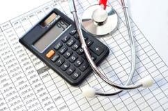 医疗保健的听诊器和计算器标志 免版税库存照片
