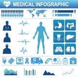医疗保健象和数据元素 库存照片