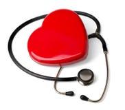 医疗听诊器和心脏 免版税库存图片