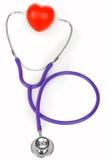 医疗听诊器和心脏 库存图片