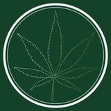 医疗大麻叶子商标 免版税图库摄影