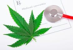 医疗大麻的一张处方 库存图片