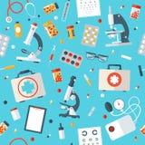 医疗工具无缝的样式 图库摄影