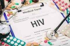 医疗形式,诊断HIV 免版税库存图片