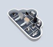 医疗成象系统和PACS服务器, 3D在云彩形状容器的打印机 免版税库存图片