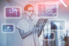 医疗接口的综合图象在蓝色和黑3d的 库存照片