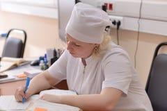 医疗接待员在医院 图库摄影