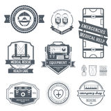 医疗标签模板集合 象征您的产品的元素、商标或者设计、网和流动应用与文本 库存图片